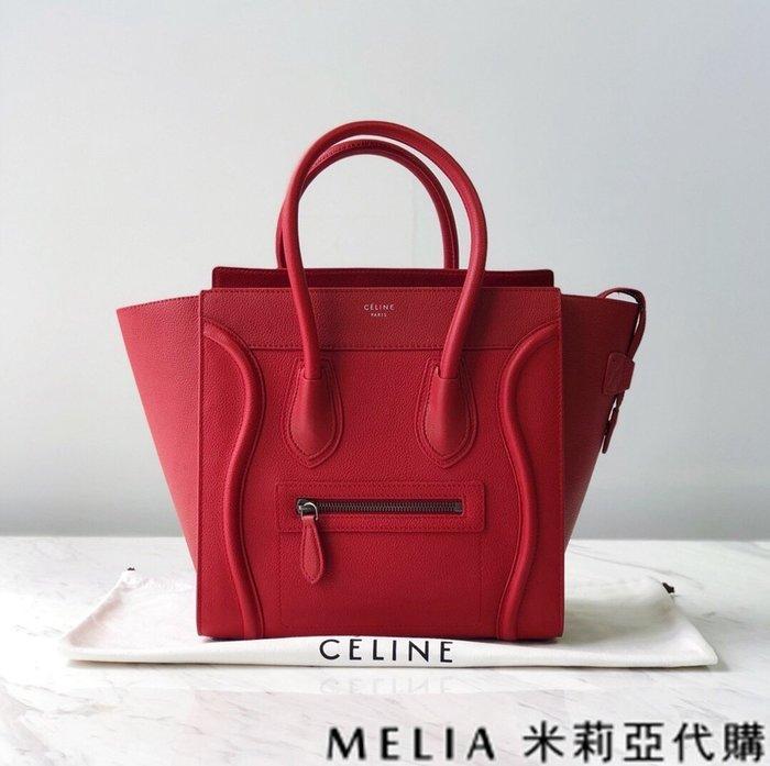 Melia 米莉亞代購 CELINE 瑟琳 0219 19ss Luggage Micro 中號 無背帶 笑臉包 紅色
