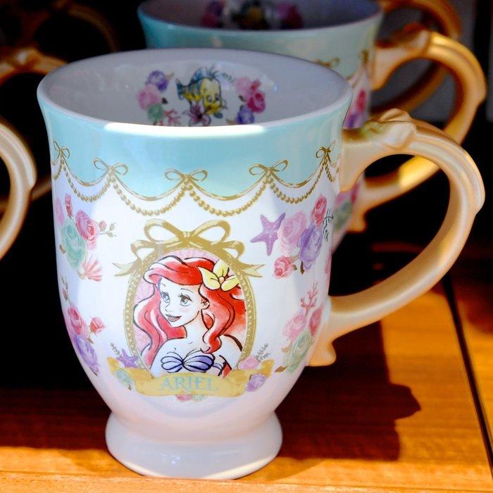 Ariel's Wish預購日本東京迪士尼三公主小美人魚愛麗兒灰姑娘仙度瑞拉長髮公主樂佩蝴蝶結咖啡杯水杯下午茶杯點心杯子