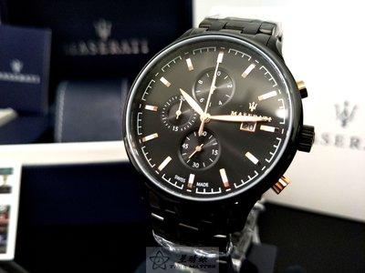 請支持正貨,瑪莎拉蒂瑞士手錶MASERATI手錶Attrazione款,編號:R8873626001,黑色精鋼錶鏈款