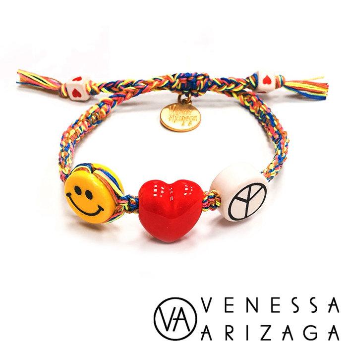 Venessa Arizaga PEACE LOVE HAPPINESS 愛心笑臉彩色手鍊
