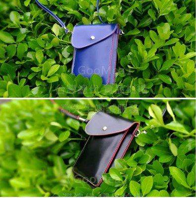 【GooMea】3免運MOTO 摩托羅拉 G6  5.7吋 雙層斜背 掛脖掛頸 藍黑 皮套 手機套手機袋 保護套
