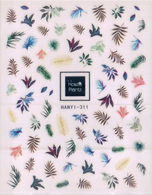 《Dear34》可愛背膠指甲貼紙HANYI-311多色花朵與深色葉類FLOWER綠葉
