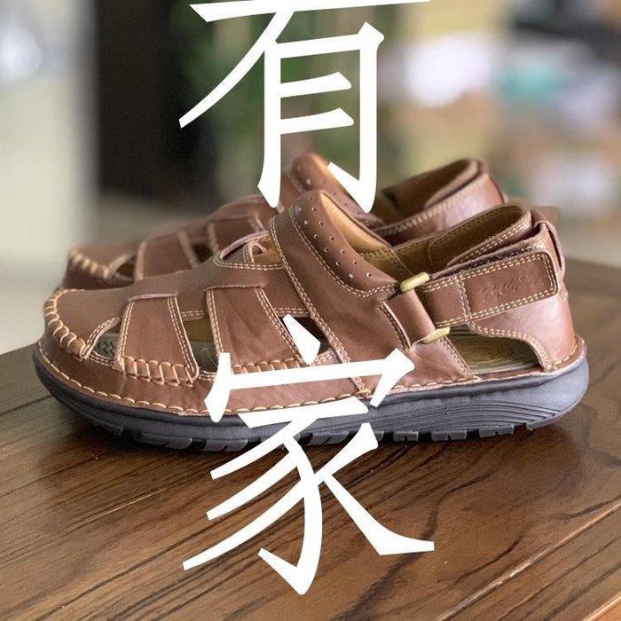 有家服飾撤柜好貨夏季透氣男士休閒沙灘鞋縫線包頭涼拖鞋頭層牛皮減震涼鞋