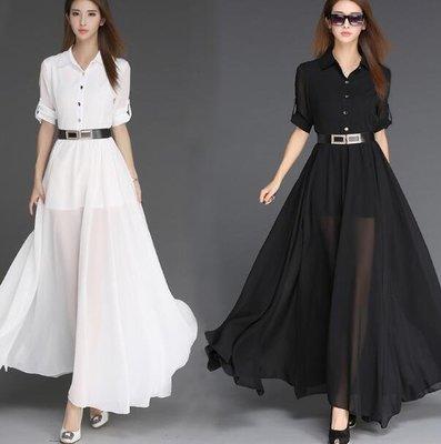 長袖洋裝 長裙 韓版新款氣質淑女拖地裙 超長款修身法式雪紡連身裙 小禮服 波西米亞洋裝—莎芭
