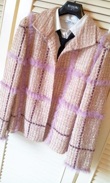 Emanuel Ungaro pink fur tweed jacket
