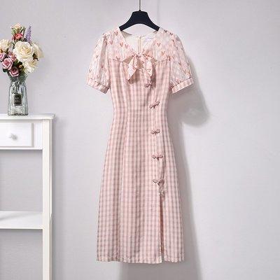 旗袍裙子女裝年新款泡泡袖格子蝕骨旗袍年輕款改良版連衣裙女夏裝