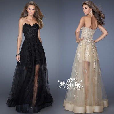 大小姐時尚精品屋~~可訂做顏色~仿明星款~高檔抹胸蕾絲超顯氣質長禮服~3件免郵
