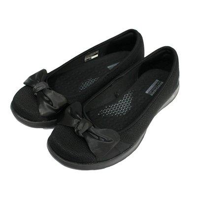 (AZ)SKECHERS 女 GOWALK LITE 健走鞋 娃娃鞋 緞面蝴蝶結 16366BBK 全黑 [迦勒]