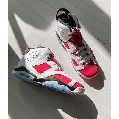 """全新 Air Jordan 6 Retro """"Carmine"""" (GS)白紅 胭脂 2021復刻 384665-106"""