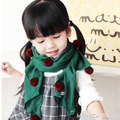 兒童保暖圍巾時尚百搭韓版潮男女童楊梅球寶寶圍脖帶球球