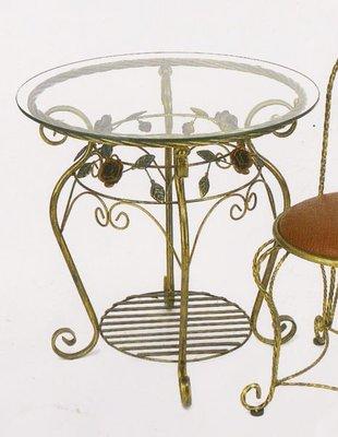 鍛鐵玻璃茶几桌 咖啡桌 小玻璃餐桌 鍛鐵小休閒圓桌 鍛鐵桌 休閒桌 會客桌 玻璃圓桌