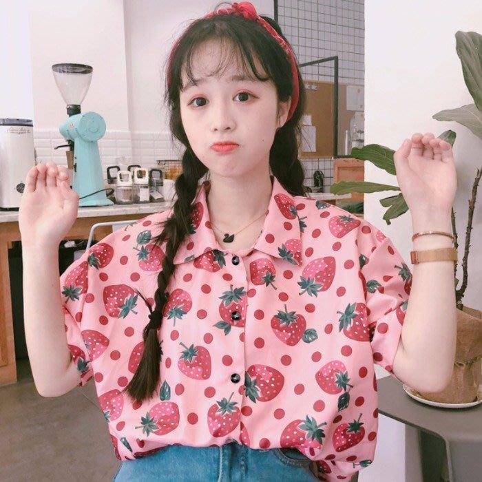 小香風 短袖T恤 時尚穿搭 網紅學院風可愛草莓印花寬松短袖襯衫女洋氣上衣軟妹