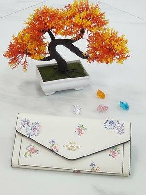 【COACH代購館】美國正品COACH 69842 新款花卉信封包 長款錢包 清新款白色女長夾 挑戰網絡最低價 可批發