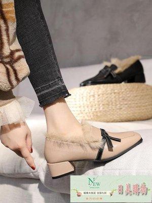小皮鞋 ins小皮鞋女復古秋冬網紅毛毛鞋女百搭方頭粗跟中跟單鞋【日美購物】