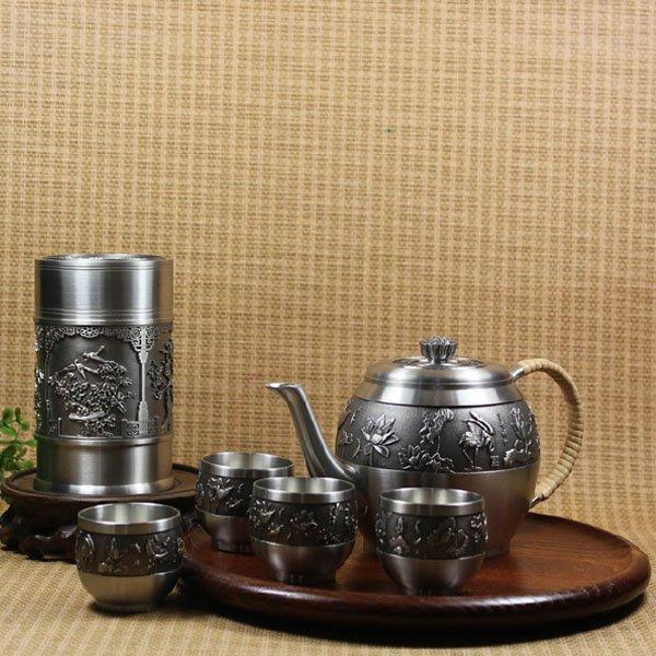 5Cgo【茗道】含稅會員有優惠 35261988943 富貴祥和錫壺純錫茶具套裝錫罐高檔實用馬來西亞錫器茶葉罐錫制儲存罐