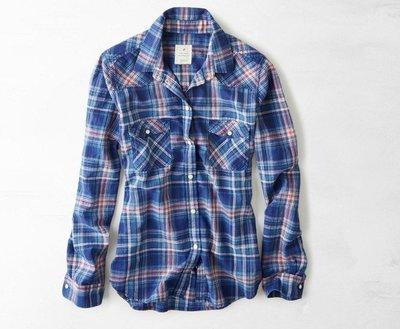 Maple麋鹿小舖 American Eagle * AE 藍色格紋長袖襯衫 *( 現貨S/M號 )