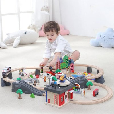 玩具火車 木質積木火車軌道玩具超長大型電動汽車兒童仿真高鐵動車拼裝益智