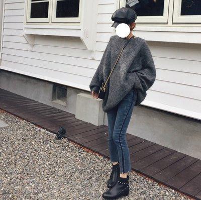 MAY_5253 韓 二色側滾邊直筒褲#11146650(現貨藍L)