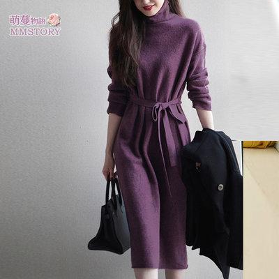 浪漫紫羅蘭高領腰帶洋裝  萌蔓物語【KX4194】韓氣質女連身裙