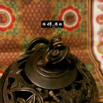 【香爐】日本回流老合金銅螭龍金剛護摩香爐