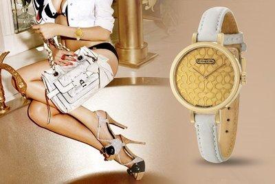 我愛名牌COACH包 美國100%正品【清倉低價出售購買兩件免運】14500973潮流時尚 真皮錶帶圓形錶盤女錶