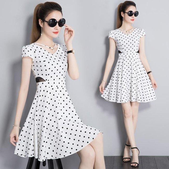 連身裙-波點連身裙女夏新款名媛復古氣質中長款韓版a字時尚顯瘦裙子