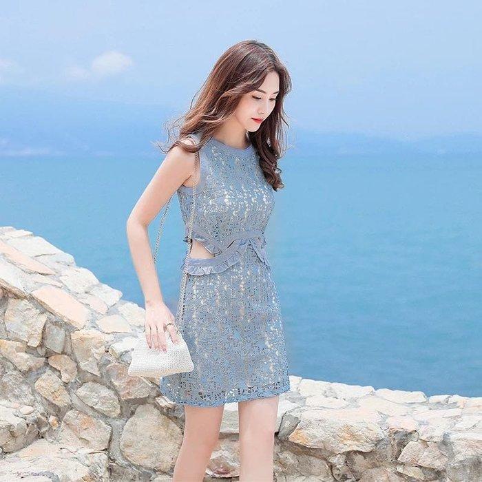 韓版氣質縷空雕花蕾絲連身裙削肩洋裝