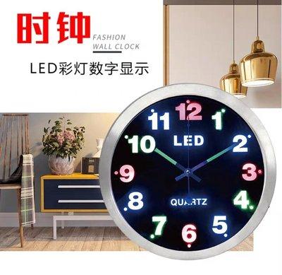 LED夜光時鐘 發光靜音鐘 藝術挂鐘 客廳時尚創意掛鐘  歐式石英鐘 新台幣:840元
