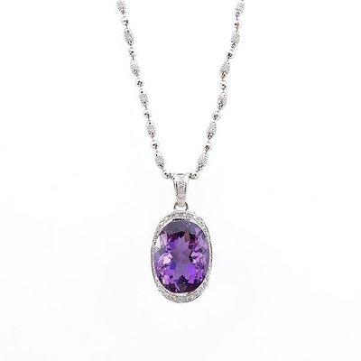 【JHT 金宏總珠寶/GIA鑽石專賣】天然紫水晶墜鍊/材質:18K/ (JB19-A6)