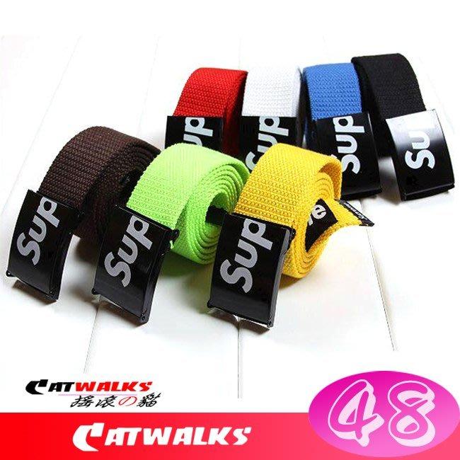 【 Catwalk's 搖滾の貓 】美式街舞潮流彩色帆布腰帶 ( 黑色、白色、黃色、藍色、咖啡、紅色、綠色 )