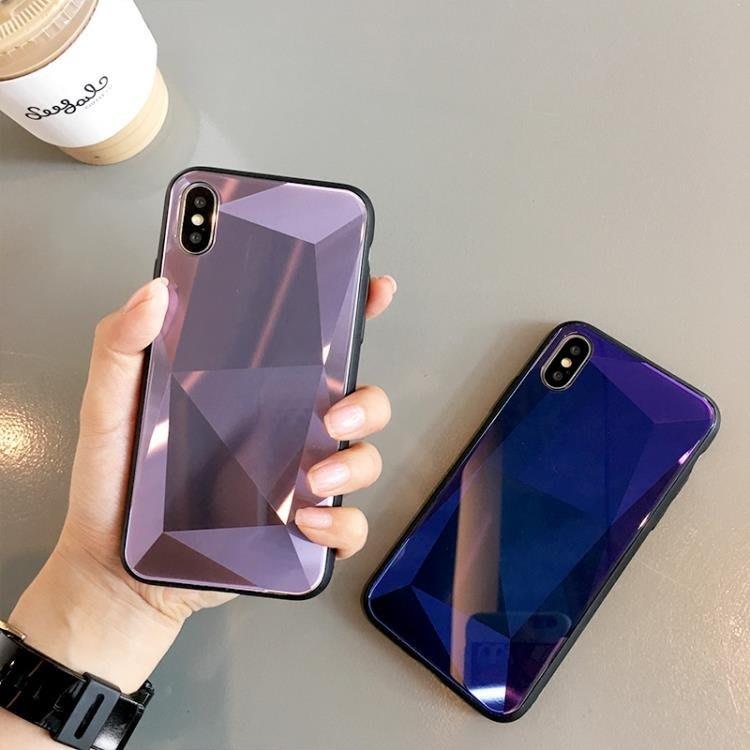 手機殼菱形鏡面蘋果x/xs/max手機殼簡約純色玻璃男女款iPhone6s/7/8plus    全館免運