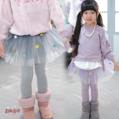 ○。° 彩色泡泡 °。○ 童裝【貨號Q7490】冬。球球雙色加厚刷毛貼腿澎紗褲裙~2色