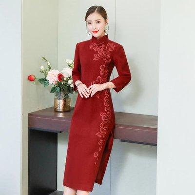 款改良老上海長袖旗袍優雅長款高端大氣毛呢連身裙大尺碼洋裝