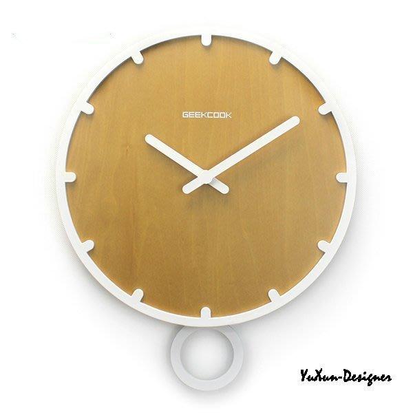 北歐現代簡約風歐式靜音鐘 直徑30公分時鐘 創意造型掛鐘 時尚家居創意鐘錶 搖擺鐘 原創品牌白色下標區§宥薰設計家