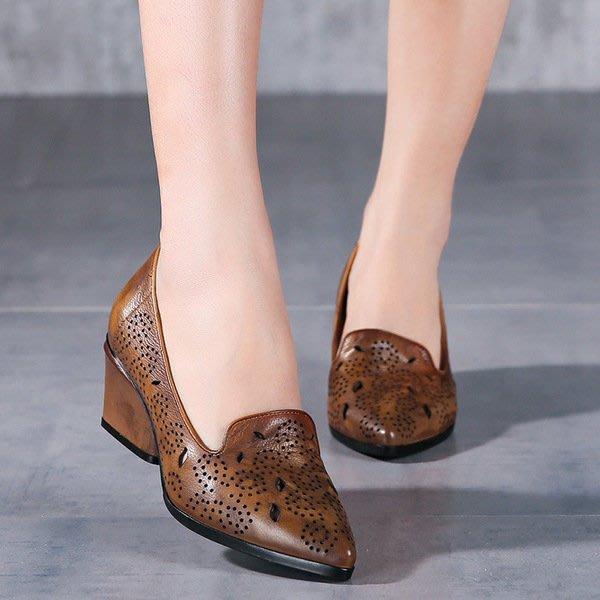 *菇涼家* 真皮僂空舒適透氣單鞋女2017春季粗跟高跟複古歐美個性媽媽鞋