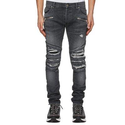[全新真品代購-S/S21 SALE!] BALMAIN 深灰色 割破補丁 騎士 牛仔褲