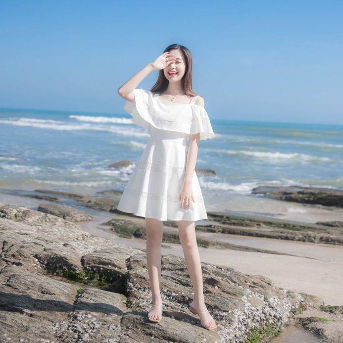 lyna凌小姐夏季新款很仙的法國小眾氣質顯瘦一字肩吊帶連衣裙 背心裙 吊帶裙 仙女裙 連衣裙 韓版