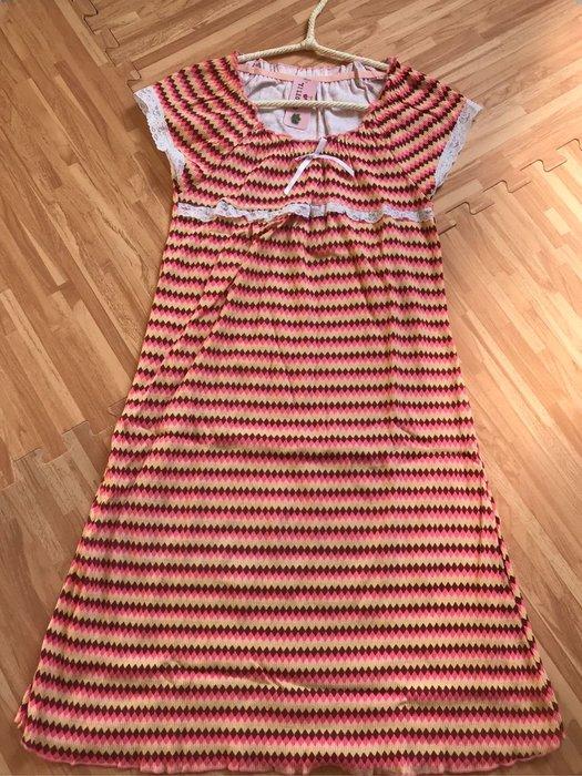 紫滕戀日系甜美睡衣 橘色橫條紋蕾絲甜美裙裝現貨免等
