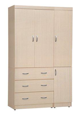 【南洋風休閒傢俱】精選時尚衣櫥 衣櫃 置物櫃 拉門櫃 造型櫃設計櫃- 白橡無敵4*7尺衣櫥 CY183-472