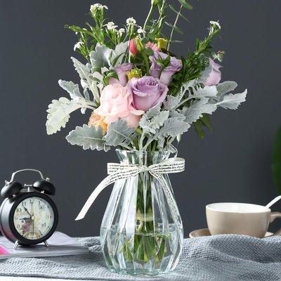 歐式花瓶創意玻璃花瓶透明彩色水培富貴竹家用玻璃瓶花瓶客廳裝飾插花擺件