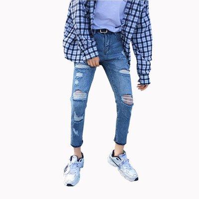 型男 28-34腰 2019春夏新款男裝牛仔褲大破洞青少年潮男寬松小腳褲