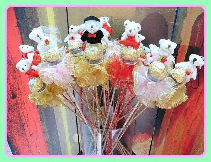 歡樂時光~婚禮新郎新娘熊+金莎巧克力+雙層花裙金莎花~結婚禮小物二次進場婚宴囍糖送客禮贈品聖誕節情人節來店禮開幕迎賓禮滿