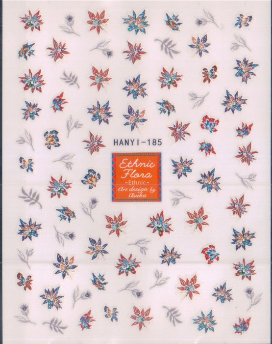 《Dear34》可愛背膠指甲貼紙HANYI-185 HANYI-186深色紅藍配灰葉淺色黃粉配綠葉花朵
