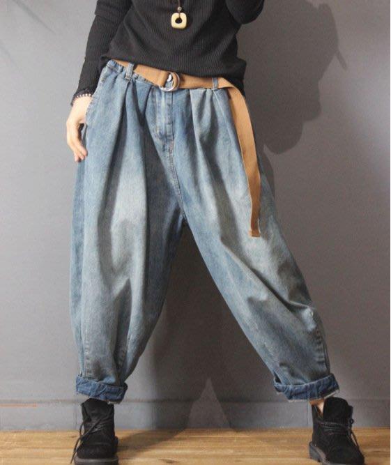【子芸芳】復古鬆緊腰大碼顯瘦胖MM懷舊藍牛仔燈籠褲