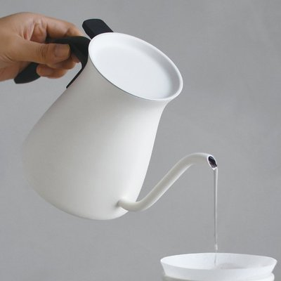 日本【KINTO】FARO 不鏽鋼咖啡壺 手沖壺 細口壺 滴水壺 900ml - 白色
