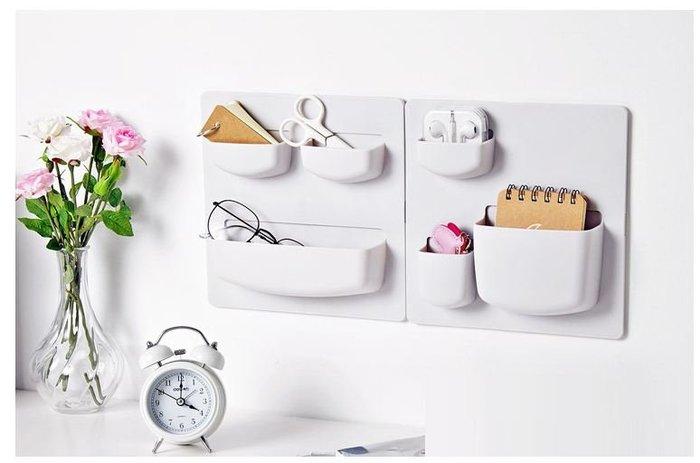 日式黏貼式牆上置物盒組