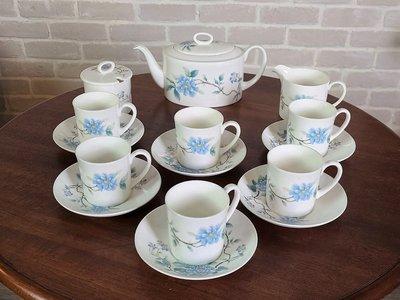 【卡卡頌 歐洲古董】英國 Wedgwood 藍牡丹 (全新未用) Peony 咖啡 花茶 瓷 杯碟壺組 p1400 ✬