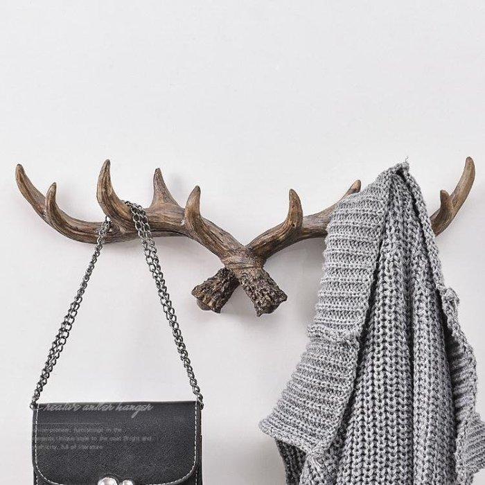 美式復古鹿角裝飾壁掛玄關門口置物架墻面鑰匙衣帽鉤客廳墻上掛鉤WY