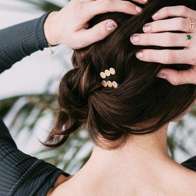 花姑子的賣場【現貨】美國設計師Monika 純銅幾何極簡3個圓盤髮飾髮夾 Transit