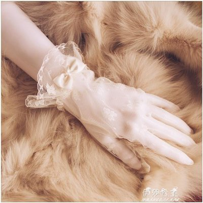 四季本鋪 新娘手套韓式簡約冬季優雅短款婚禮結婚手套新娘白色蕾絲婚紗配飾薄款通用SJ133